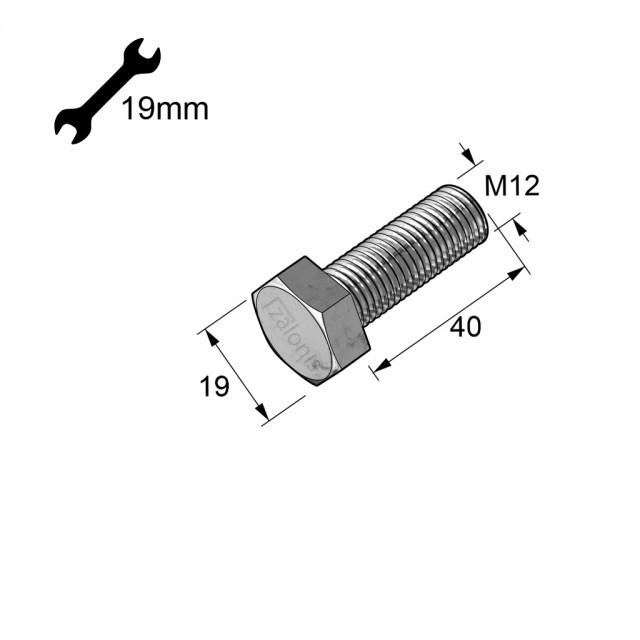 HEXAGON HEAD STEEL BOLT M12x40